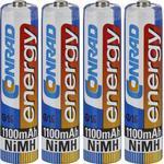 4 Conrad oplaadbare batterijen - AAA 1100 mAh