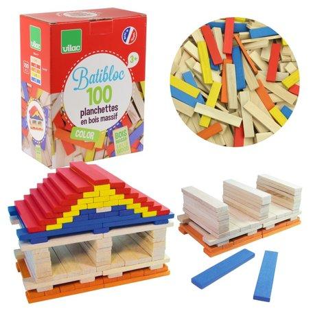 BATiBLOC-classic 100 natuurlijke gekleurde houten plankjes