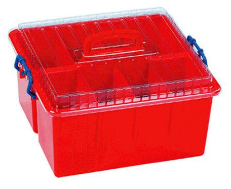 Sorteerbox met deksel en handvat rood